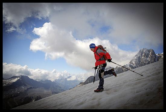 Leo descend du Petit Mont Blanc