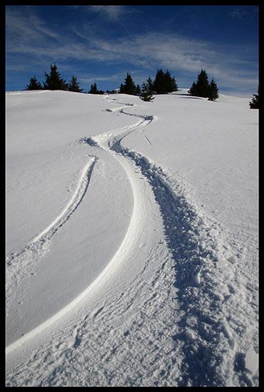 Trace de ski de rando au rocher de Leschaux